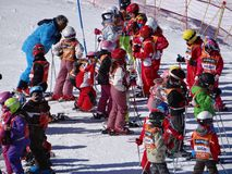 French children form ski school groups Stock Image