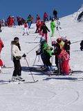 French children form ski school groups Royalty Free Stock Photo