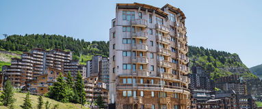 Avoriaz wooden architecture, French Alps Royalty Free Stock Images
