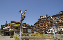 Avoriaz wooden architecture, French Alps Royalty Free Stock Photos