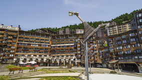 Avoriaz wooden architecture, French Alps Royalty Free Stock Photo