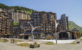 Avoriaz wooden architecture, French Alps Stock Photo