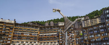 Avoriaz wooden architecture, French Alps Stock Photos