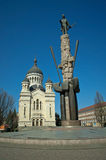 Avram Iancu monument and Orthodox Cathedral, Cluj. The Avram Iancu monument, landmark of the eponymous square in downtown Cluj-Napoca, Romania. Orthodox royalty free stock photos