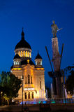 Avram Iancu monument and Orthodox Cathedral, Cluj- Royalty Free Stock Images