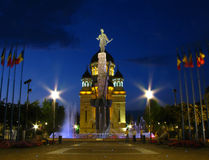 Avram Iancu Square, Cluj-Napoca, Romania 2. Avram Iancu Square, Cluj-Napoca, Romania at the blue hour. In front we have the statue of Avram Iancu (the leader of royalty free stock photos