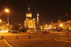 Avram Iancu Square-Cluj napoca,Romania. Night image of Avram Iancu square in Cluj Napoca,Romania.In the center of the image,you can see the Orthodox Cathedral Royalty Free Stock Image