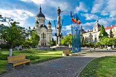Avram Iancu Square,Cluj-Napoca,Romania. With the statue of Avram Iancu(the leader of romanian revolution from Transylvania 1848-1849) and the Orthodox Cathedral royalty free stock photos