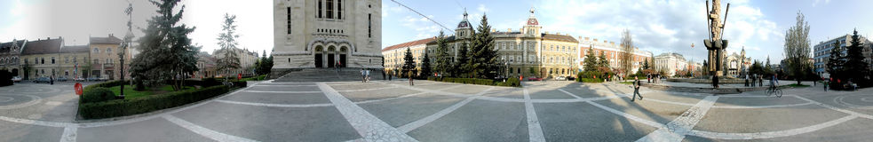 Avram Iancu Square, 360 degrees panorama Royalty Free Stock Image