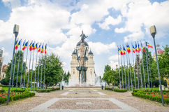 Avram Iancu Square and Statue with the Orthodox Cathedral in Cluj Napoca Romania. Avram Iancu Square and Statue with the Orthodox Cathedral on the background in Stock Photos