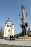 Avram Iancu statue. Statue of Avram Iancu with church in background, Cluj-Napoca, Romania Stock Photography