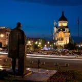 Avram Iancu- und Lucian Blaga-Statuen, Klausenburg-Napoca Stockfotos