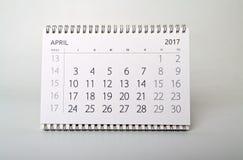 avril Calendrier de l'année deux mille dix-sept Images stock