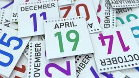 19 avril date ? la page de calendrier rendu 3d illustration stock