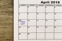15 avril, jour d'impôts aux Etats-Unis Photos stock