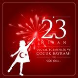 23 avril, jour du ` national s de la souveraineté et d'enfants illustration libre de droits