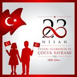 23 avril, jour du ` national s de la souveraineté et d'enfants illustration stock