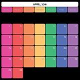 avril 2018 jours de la semaine spécifiques de couleur du grand espace de note de planificateur Images libres de droits