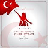 23 avril, la souveraineté nationale et carte de célébration de la Turquie de jour de Children's illustration libre de droits