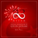 23 avril, la souveraineté nationale et carte de célébration de la Turquie de jour de Children's illustration stock