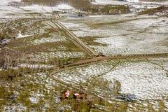 27 avril 2017 - MESA de HASTINGS près de RIDGWAY ET de TELLURURE LE COLORADO - antenne - hiver dans Antenne, sud-ouest Etats-Unis Image stock