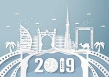 3 avril 2019 : Point de repère et bâtiment célèbres supérieurs de pays de Dubaï pour le voyage et la visite Conception d'illustra illustration stock