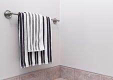 Avrivna badrumhanddukar på handdukhållare Royaltyfri Foto