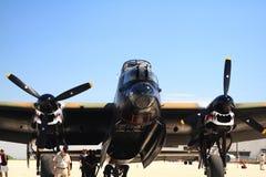 Avro兰卡斯特轰炸机机体的鼻子零件与开放炸弹舱的 免版税库存照片