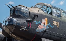 Avro Lancaster bomber `Just Jane` taxiing on airfield Stock Image