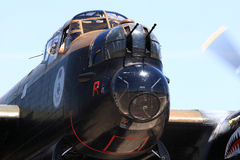 Avro Lancaster Bomber Nose cockpits, nose machineguns with working engines Royalty Free Stock Photo