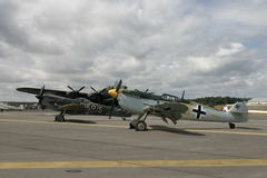 Avro Lancaster, Messerschmitt BF109 and Spitfire Mk14 at Farnborough Royalty Free Stock Photography