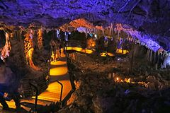 Avshalom Cave, also known as Soreq Cave. A large stalactites cave near Beit-Shemesh in central Israel stock images