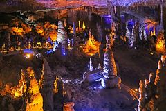 Avshalom Cave, also known as Soreq Cave. A large stalactites cave near Beit-Shemesh in central Israel stock photography