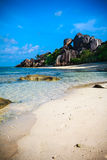 Avskild Anse källD'Argent strand Royaltyfri Bild
