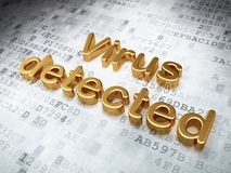 Avskildhetsbegrepp: Guld- virus som avkänns på digitalt Royaltyfri Bild