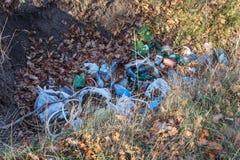 Avskräde i kastad avskräde för skogfolk olagligt in i skog royaltyfria foton