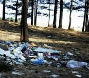 Avskräde i skog, problem av miljön royaltyfria foton
