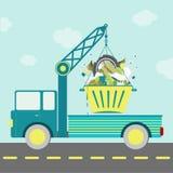 Avskrädebehållarelastbil vektor illustrationer