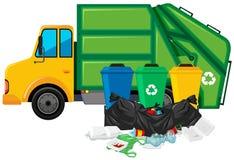 Avskrädelastbil och tre trashcans Royaltyfri Fotografi