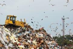 Avskrädelastbil som dumpar avskrädet på en nedgrävning av sopor royaltyfri foto