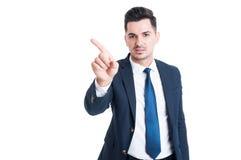 Avskräden för försäljningsmandanande eller förnekar gest royaltyfria foton