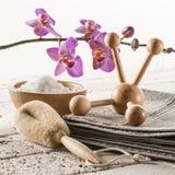 Avslappnande bad och massage för zenbrunnsortbehandling arkivbilder