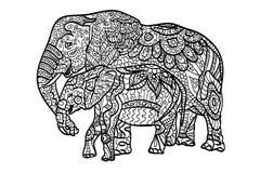 Avslappnande färgläggningelefanter stock illustrationer
