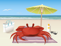 Avslappnande krabba vektor illustrationer