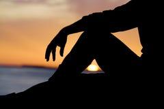 avslappnande silhouette Royaltyfri Foto