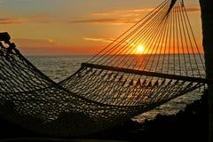 avslappnande solnedgång Arkivbilder
