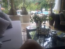 Avslappnande veranda Fotografering för Bildbyråer