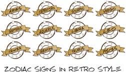 avsluta retro zodiac Arkivfoton