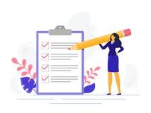 Avslutade den lyckade kvinnan för affärskvinnakontrollistan som kontrollerar uppgiftsframgång, affärsuppgifter Vektor för li stock illustrationer