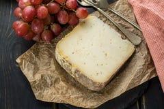 Avsmakning av mjuk ost Tomme för forntida fransk demi från den franska fjällängen Arkivbild